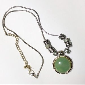 Kenneth Cole Necklace Pendant Green Stone Round